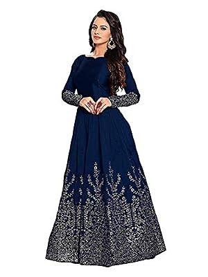 Women's Silk Gown (Free Size, Blue)