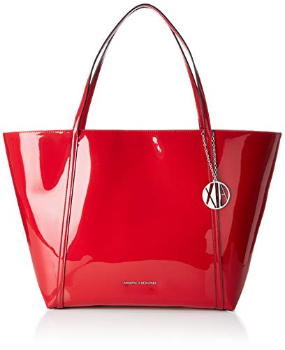 Armani Exchange Damen Medium Shopping Bag Tote, Rot (Red), 32x13.3x56 cm - Denim Tote Bag Handtasche