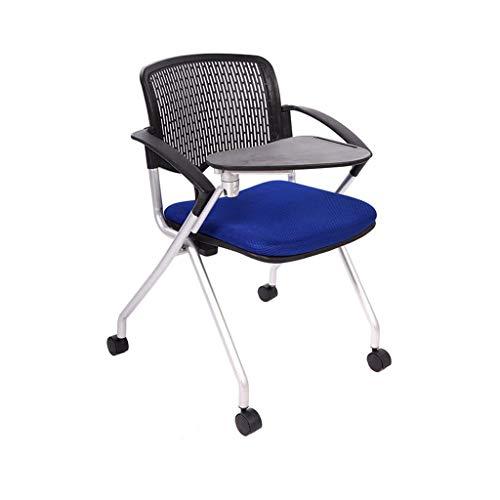 SACKDERTY Klappstuhl Büro-faltender Ausbildungs-Stuhl Blau aufgefüllter Reporter-Nachrichten-Stuhl mit Schreibplatte & Rad