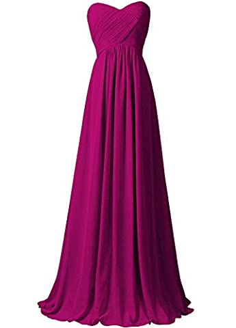 WAWALI A-Line Straplees Prom Dresses Evening Party Gowns 26 Fuchsia