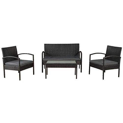 ArtLife Polyrattan Sitzgruppe Trinidad schwarz | graue Bezüge | Gartenmöbel-Set mit Bank, Sessel & Tisch 4 Personen | Terrassenmöbel Balkonmöbel