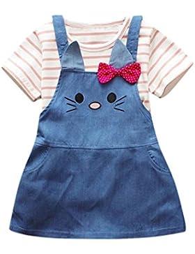 2Pcs Bebés Niñas Zolimx Lindo Rayas gato Tapas de Impresión + Vestido de Mezclilla Trajes Ropa Conjunto