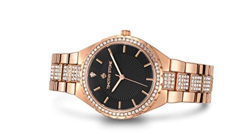 Timothy Stone Damen Uhr Analog Quarz mit Edelstahl Armband G-014-ALRGBK