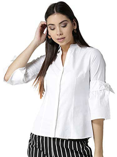 Style Quotient Women White Tailored Fit Solid Casual Shirt-XL-White