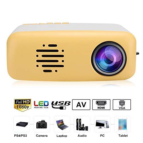 ASHATA Mini Beamer, Tragbar Mini LED HD 1080P Projektor Videobeamer,TFT LCD Intelligente Multimedia-Projektor,Unterstützung Smartphone PC Laptop TV Box USB-Flash-Laufwerk EU(Weiß Gelb)