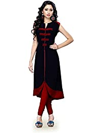 Muta Fashions Women's Cotton Blend Dress Material (Kurti52_19_Black_Free Size)