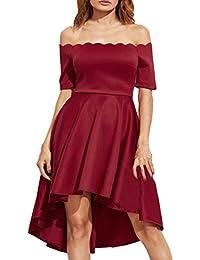 Auxo Faldas Plisadas Elegante Mujer Traje de Gala sin Hombro Midi Vestidos de Fiesta Noche