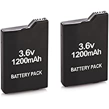 Tera 2Pcs PSP-S110 1200mAh Li-ion 3.6V Rechargeable Battery Pack Replacement for Sony PSP 2000 2006 3000 3006 Color Black by Tera