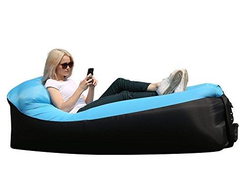 Wasserdichtes Aufblasbares Sofa mit Integriertem Kissen Tragbar Air Betten Aufblasbare Couch Tragbarer Aufblasbarer Sitzsack (BlauSchwarz)