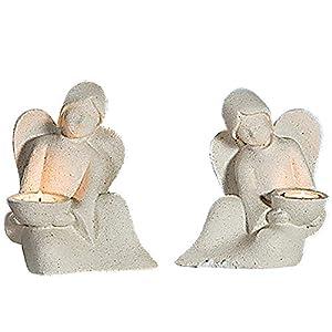 GILDE Engel Joao mit Teelichthalter, 20cm, sand, 2-teiliges Set