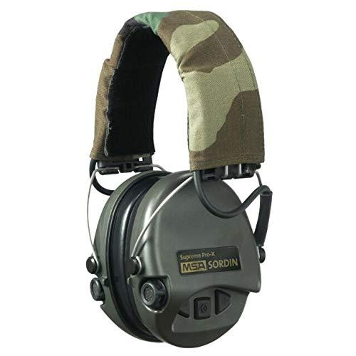 Sordin Supreme PRO X - Aktiver Gehörschutz SOR75302-X-G Elektronischer Gehörschützer inkl. Gel-Kissen Camo-Band Grüne Cups