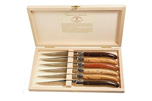 Laguiole Ménagère avec 6 Couteaux à Steak Bois Mixés
