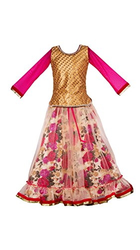 My Lil Princess Baby Girls Birthday Party wear Frock Dress_Pink Floral Lehenga_Net...