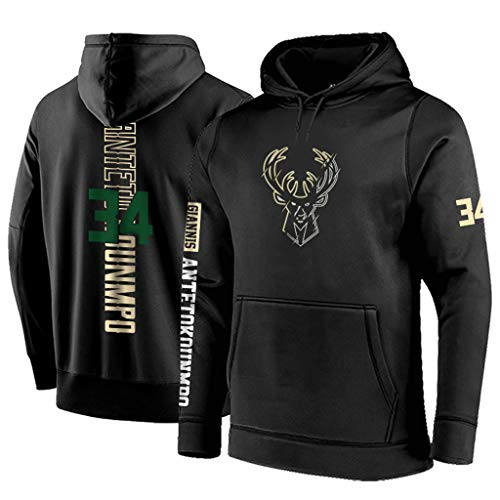Milwaukee Bucks Herren Hoodie Antetokounmpo #34 Youth Männer Pullover Name & Number Fashion Basketball Sports Sweatshirt Tops Youth Zip-front Hoodie