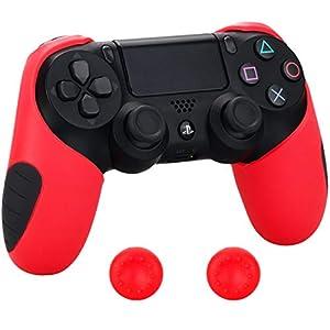 Pandaren® silikon dickere gälfte skin hülle Schutzhülle für PS4 controller (rot) x 1 + thumb grips aufsätze x 2