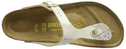 Birkenstock Damen Gizeh Birko-Flor Zehentrenner Beige (Shiny Snake Cream)