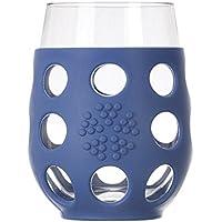 Lifefactory 320006 bicchiere in vetro e silicone, set di 2, 500 ml, blu cobalto