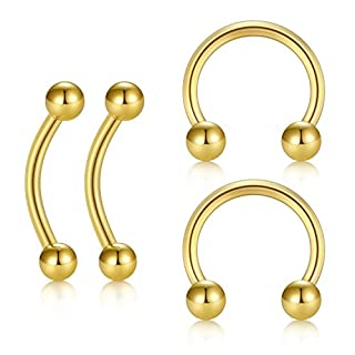 JFORYOU 16G 4PCS Helix Daith Piercing Curved Barbell Eyebrow Rings Horseshoe barbell Cartilage Hoop Surgical Steel Jewelry Gold