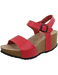 Ital-Design Keilsandaletten Leder Damenschuhe Keilabsatz/Wedge Schnalle Sandalen & Sandaletten