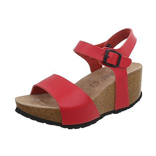 Ital-Design Keilsandaletten Leder Damen-Schuhe Keilabsatz/Wedge Schnalle Sandalen & Sandaletten Rot, Gr 40, Lbs2193-