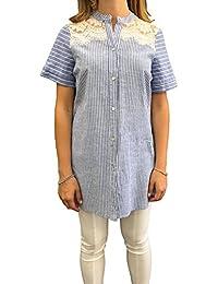 099f15f8b0 Anita Cottafavi Camicia Donna Chic 100% Cotone Dettaglio Pizzo Spalla Camicia  Donna Righe Made in