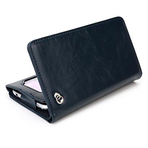 Kroo Portefeuille unisexe avec Prestigio MultiPhone 4505Duo/4500Duo/5450Duo Universel différentes couleurs disponibles avec affichage écran Beige - beige Bleu - bleu