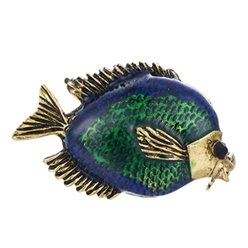 Fenteer Vintage Bunt Ozean Fisch Brosche Muster Brosche Kristall Strass Metall Kostüm Pins ()