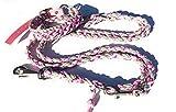 Viva Nature Handgemachtes Hunde-Halsband MIT Leine im Set/verstellbar 35-42 cm \ Paracord-PP-Flechtleine/Geflochten/Hund (Rosa Grau)