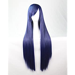 Womens Ladies Girls 80cm Indigo Color Long Straight Wigs High Quality Hair Carve Cosplay Costume Anime Party Bangs Full Sexy Wigs