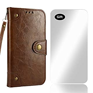 Bear Village Case Sony Xperia XZ Premium, Flip Wallet PU Leather Case Retro Folio Bookstyle Cover with Free Tempered Glass Screen Protector for Sony Xperia XZ Premium (#1 Brown)