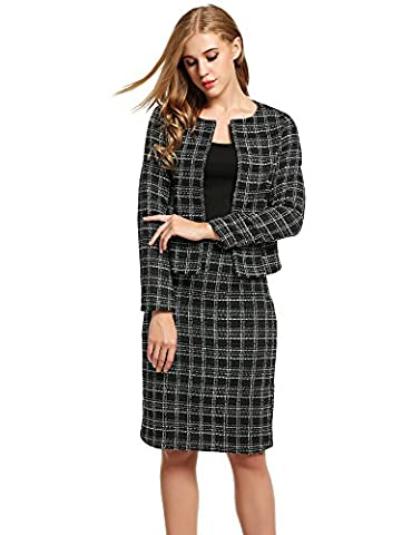Meaneor Women 2 PCS Tweed Jacket and Back Split Skirt Wear to Work Set