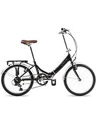 Kingston Freedom, Unisex Folding Bike, 6 Speed, 20 Inch Wheels, Black
