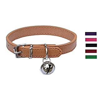 """Beige Leather Pet collars for Cats,Baby Puppy Dog,Adjustable 8""""-10.5"""" Kitten Collar with Bell 4"""