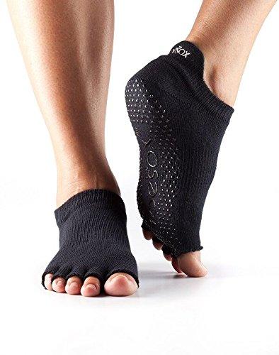 Toesox - Calcetines cortos sin dedos para yoga, mujer, negro, L