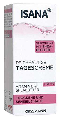 ISANA reichhaltige Tagescreme - Für trockene & sensible Haut, verwöhnt mit Shea Butter, Vitamin E...