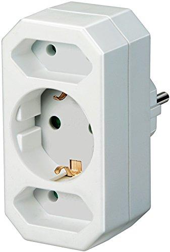 Brennenstuhl Elektronik Adapterstecker Euro 2 mit Schutzkontakt, Weiß, 10 x 20 x 20 cm, 1508050