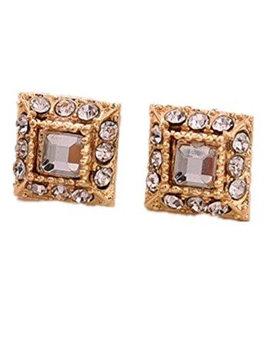 Summens Femmes Bijoux Diamant Cristal éclair Carré Boucles d'oreilles