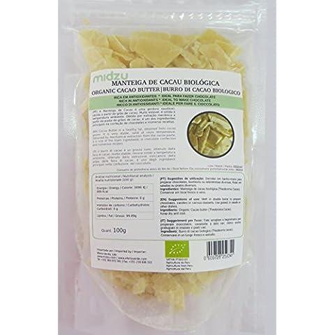 Manteca de cacao orgánica Midzu 100g x 3 embalajes - 300g