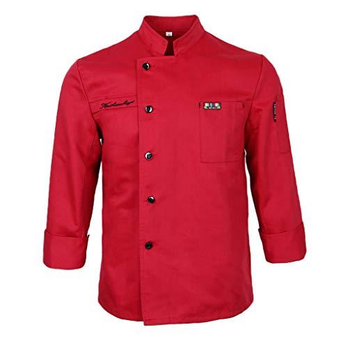 e80f6ad6efa P Prettyia Chaqueta de Chefs Ropa de Cocinero Alimentación Apariencia  Atractiva Ropa de Cocina - rojo
