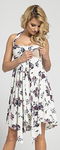 Happy Mama Damen Umstands Asymmetrisch Stillkleid Neckholder Kleid 656p - 2