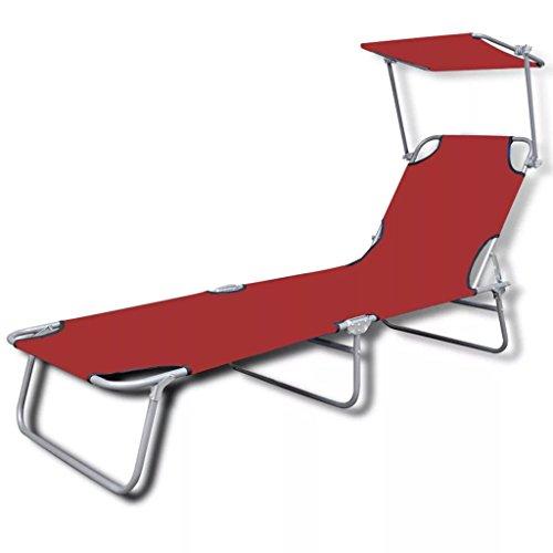 Fesjoy Tumbona Plegable con el toldo de la sombrilla Sillón reclinable de Playa para jardín Silla de Descanso reclinable, Sostiene hasta 120 kg. Rojo