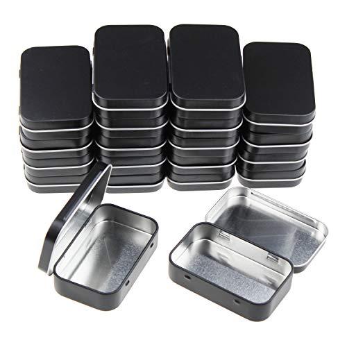 Goodma 20 Stück rechteckige Metalldosen Leere Scharnierdosen Behälter Basic Notwendigkeiten Home Storage Organizer Mini Box Set 95 x 62 x 20 mm Schwarz -