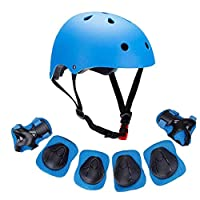 Kids Bike Helmet, Toddler Helmet for Ages 3-8 Boys Girls with Sports Protective Gear Set Knee Elbow Wrist Pads for Skateboard Cycling Scooter Rollerblading (blue)