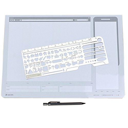 loghot Set von 3REAKTIONSSCHNELL UI Design All-in-One Edelstahl Draft Drawing Sketch Schablone Bleistift Kit Vorlage -