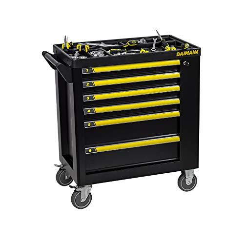 Daimann One Carrello da Officina Garage con 158 Utensili Porta Attrezzi con Ruote e 6 Cassetti Portautensili Professionale