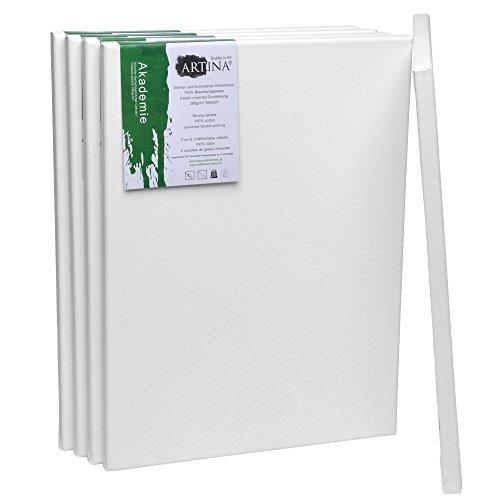 Artina Akademie Keilrahmen Set 5er - 30x40 cm mit 100% Baumwolle Leinwand Keilrahmen Weiß - 280g/m² - verzugsfrei