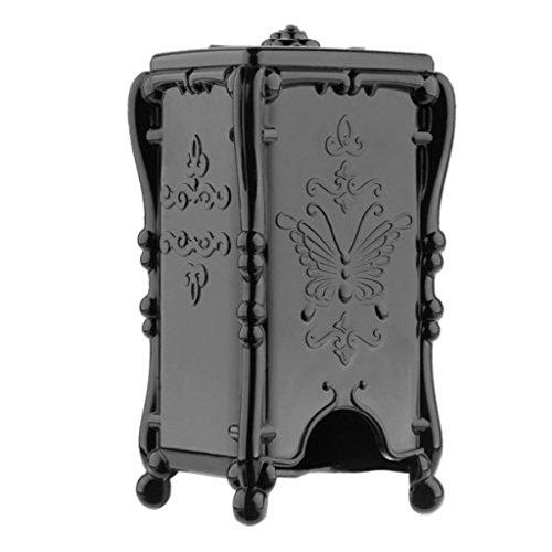 Bluelans. Boîte de rangement pour cotons-tiges, distributeur de cotons. En Plastique Transparent, avec couvercle noir noir taille unique