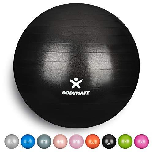 BODYMATE Gymnastikball mit GRATIS E-Book inkl. Luft-Pumpe ANTHRAZIT 75cm -