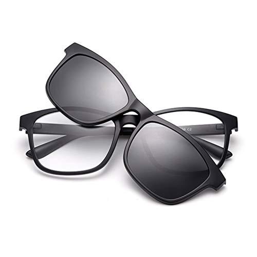 KUNER 2-in-1 Polarisiert Hochklappen Magnetisch Sonnenbrillen aufclipsen & Brille Drinnen draußen UV-Schutz TR90 Rahmen (K5BK_Black)