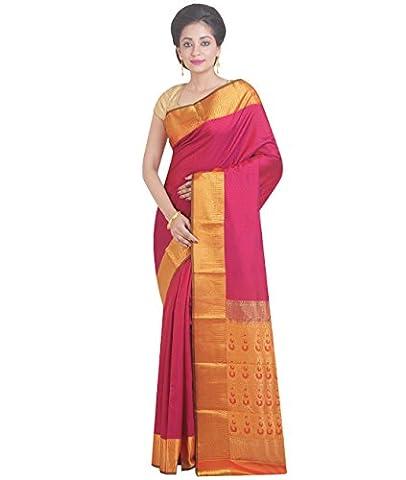 Indian Ethnic Pure Kanjeevaram Silk Dark Magenta Handloom